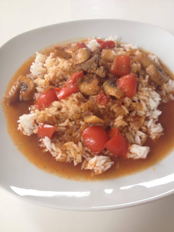 Rezept: Schaschlikpfanne mit Reis